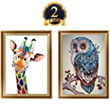 2 Packs 5D DIY Diamond Painting Set Decorating Wall Stickers For Living Room,Giraffe And Owl DIY Art Craft Home Wall Décor(30x40cm,11.81x15.75 inch)