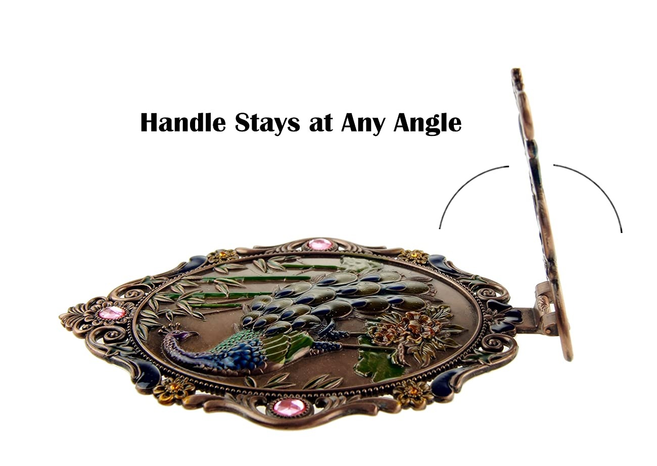 Ivenf Large Size Vintage Metal Oval Make-Up Hand/Table Mirror, Peacock On Rock In Bamboo Forest, Rose Copper 5