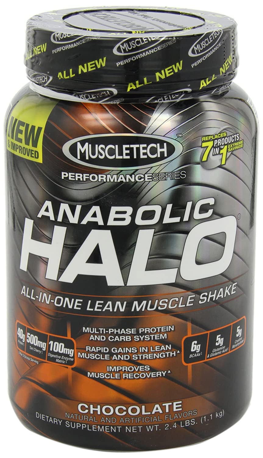 MuscleTech Anabolic Halo, All-in-One Lean Muscle Shake, Chocolate, 2.5 lbs (1.14kg)