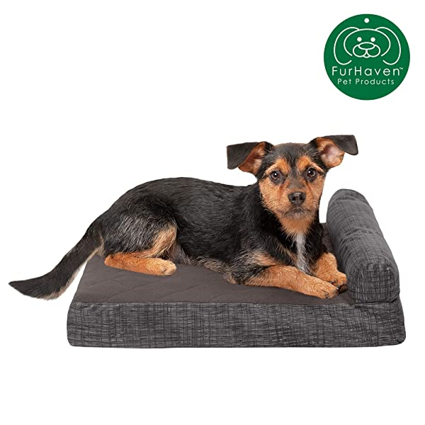 Jumbo Furhaven Pet Dog Bed Deluxe Orthopedic Quilted Fleece /& Print Suede Chaise Lounge Living Room Couch Pet Bed w// Removable Cover for Dogs /& Cats Titanium