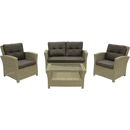 Loungeset Jazz Pebble Gartenmöbel Set 4-teilig 2 Stuhle Sofa Tisch mit Glasplatte