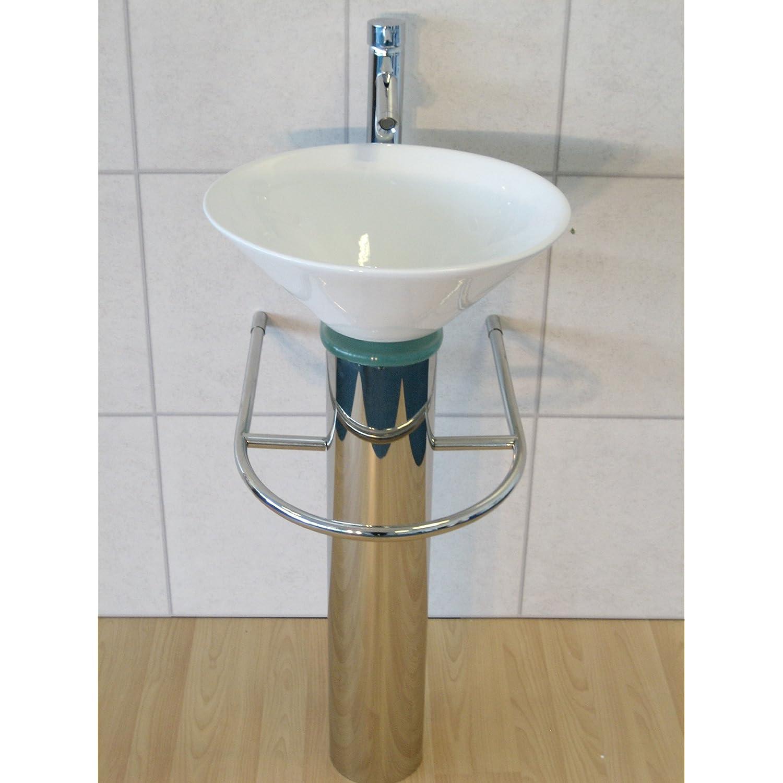 Pedestal Sink Trap : ... Bathroom Sink Round Ceramic Glass Wash Basin Pedestal Tap Trap Waste