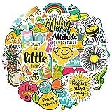 Cute Vsco Aesthetic Stickers [57PCS]- Positive, Lovely, Trendy Sticker for Laptops Hydro Flasks Water Bottle Hydroflask Waterbottles Skateborad- Yellow Pink Waterproof Decals for Kids, Teens Vsco Girl (Color: Lemon)