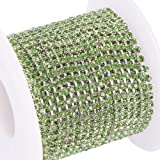 BENECREAT 10 Yard Crystal Rhinestone Close Chain Clear Trimming Claw Chain Sewing Craft About 2880pcs Rhinestones, 2mm - Green (Silver Bottom) (Color: Green (Silver Bottom), Tamaño: 2mm)