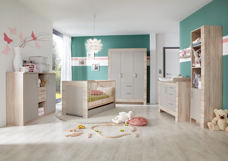 Babyzimmer mit Bett 70 x 140 cm Eiche sägerau/ sandgrau jetzt bestellen