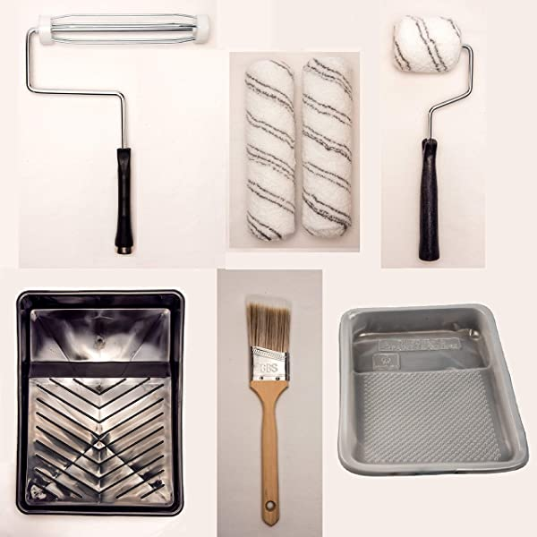 GBS Home Painting Kit 8 Pcs with Tray, Paint Roller, Paint Roller Cover, Angle Brush, Paint Tools for House, Walls, Room, Interior, Outdoor, Repair. F