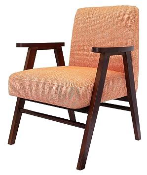 Fauteuil orange en Bois/Polyester - 78x62x64 cm - PEGANE -