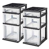 IRIS USA, Inc. 585485 3-Drawer File Cart with Organizer Top, 2 Pack, Black (Color: Black, Tamaño: 3-Drawer File Cart)