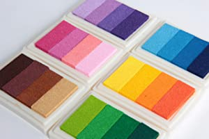 SBYURE Rainbow Ink Pad Set of 6 Creative DIY Multicolor Craft Stamp Pad Rainbow Finger Stamps Ink Pad 24 Colors for All Ages & Infinite Uses