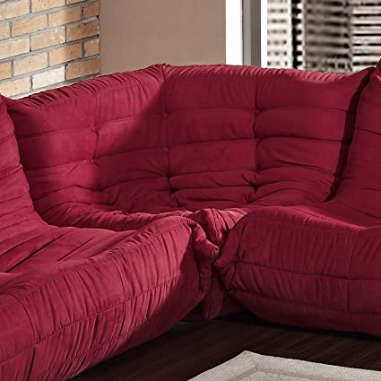 LexMod Waverunner Modular Corner Sofa in Red
