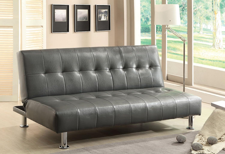 Furniture of America Botany Leatherette Convertible Sofa - Gray