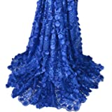 Aisunne African Lace Fabrics 5 Yards Nigerian French Lace Fabric with 3D Flower Fashion Embroidered Beading and Sequin for Wedding Party Dresses (Dark Blue) (Color: Dark Blue)