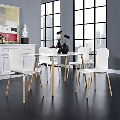 Stack Wood Dining Chairs and Table Set of 5, White