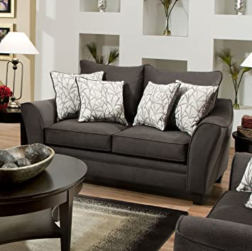 Roundhill Furniture Derek Flannel Seal Fabric Loveseat with Pillow, Brown