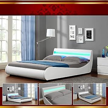 VENEDIG LED Luxus Weiss Polsterbett Doppelbett Bettgestell Bettrahmen mit Latten 160 x 200cm