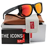 Ray-Ban RB4165 Justin Sunglasses Matte Black w/Orange Mirror (622/6Q) 4165 6226Q 55mm Authentic