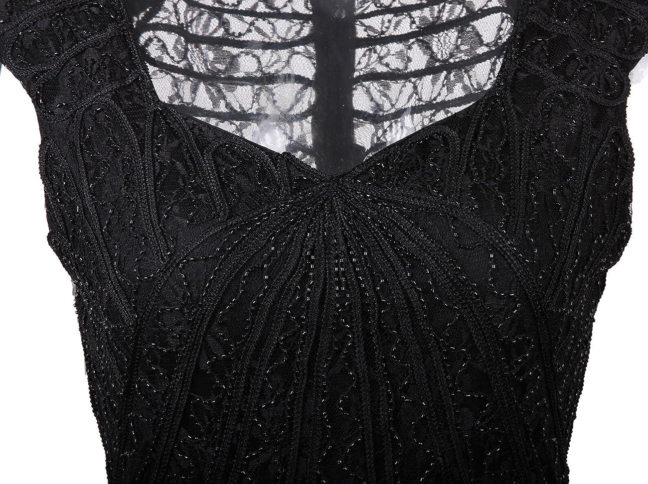 Vijiv Vintage 1920s Inspired Embellished Beaded Lace Cocktail Flapper Dress 3