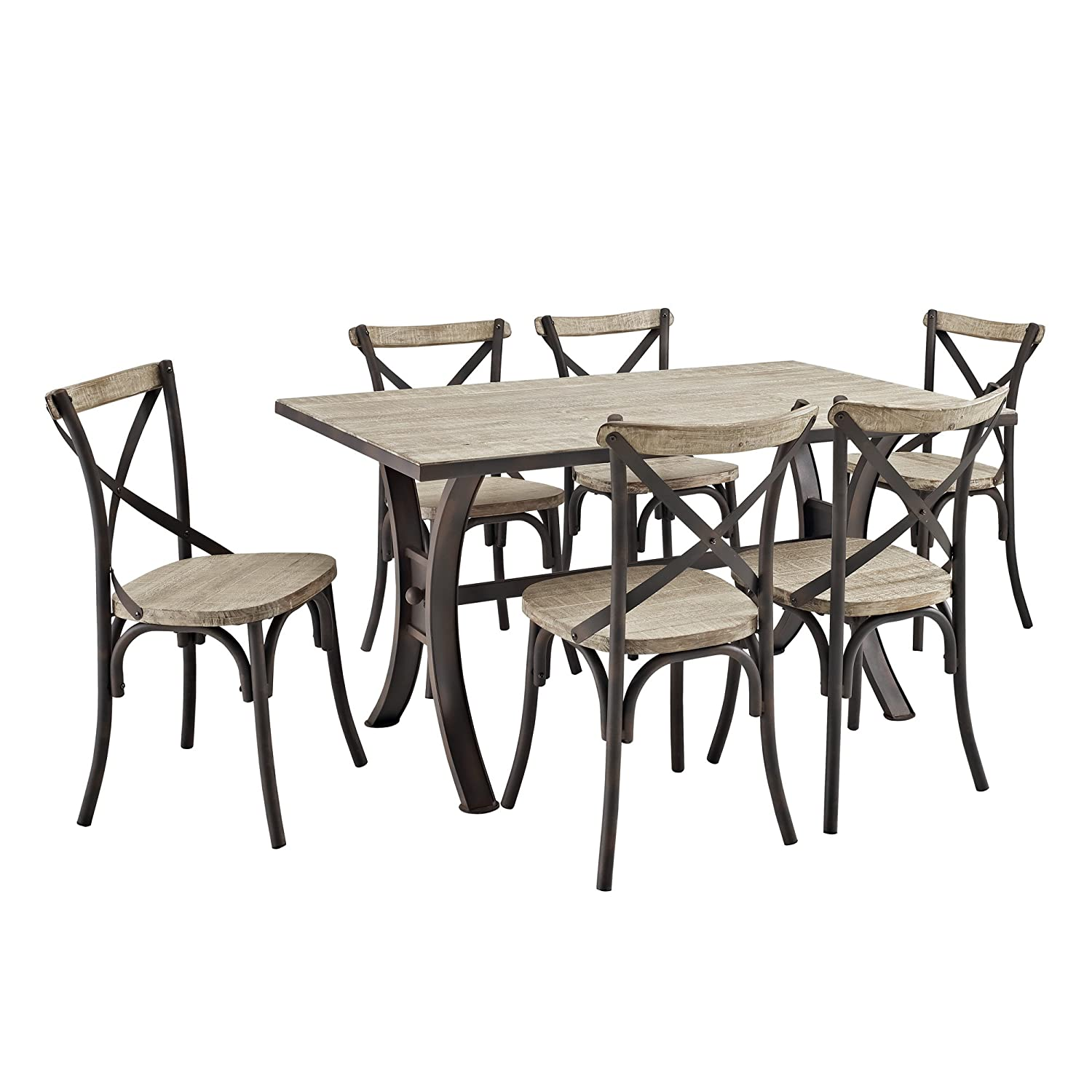 7-Piece Industrial Reclaimed Solid Wood Dining Set