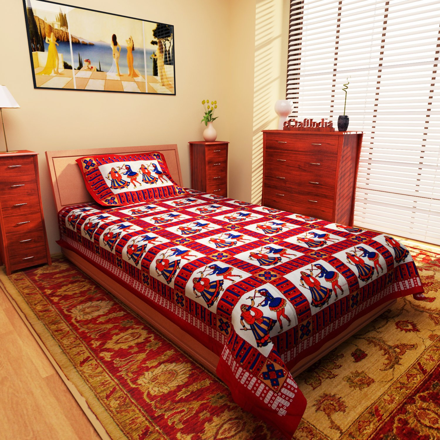 eCraftIndia Couple Playing Dandia Red Design Cotton Single Bedsheet with 1 Pillow Cover By Amazon @ Rs.339
