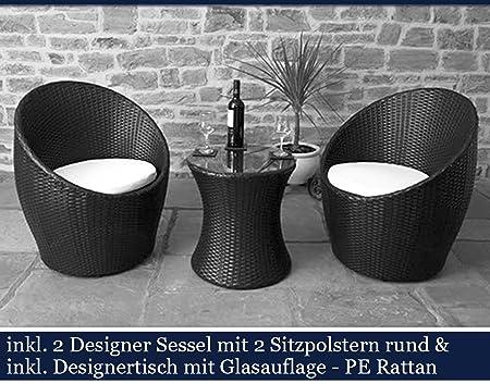 Polyrattan Gartenmöbel Set Poly Rattan Garten Möbel Gartengarnitur Sitzgruppe (Schwarz)