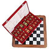 shivika enterprises Wooden hand carved peices Chess Set With Board unique and vintage look(45X46X3 Cm, Black & White)