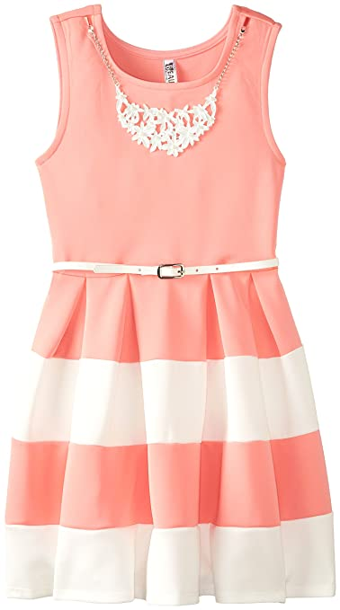 Beautees-Big-Girls-Color-Block-Dress-with-Necklace