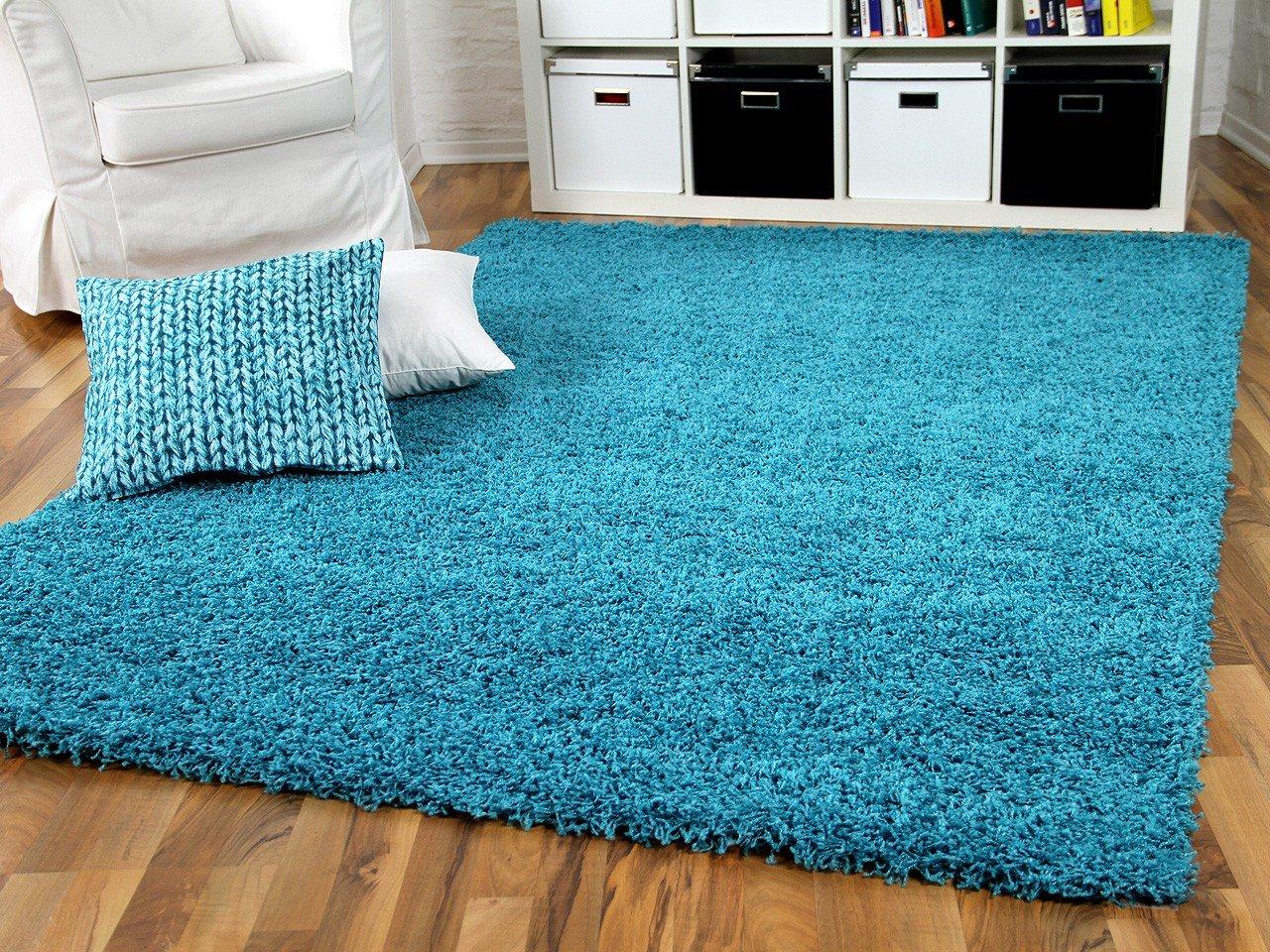 Hochflor Langflor Shaggy Teppich Aloha Türkis Blau  Sofort Lieferbar in 8 Größen    Kundenbewertung und Beschreibung