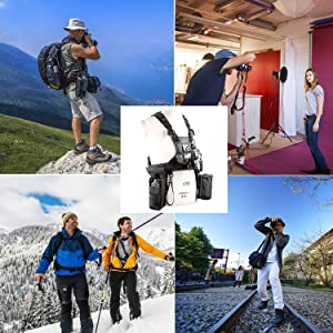 Triple Camera Harness, Micnova Carrying Chest Vest System with Side Holster for Smartphone Lens Canon Nikon Sony DV DSLR Camcorder Tripod Stand Wedding Journalism YouTube Vlog Livestream (Color: Carry Triple Cameras)