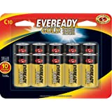 Eveready C Cell Alkaline Batteries, Gold (10 Count) (Tamaño: 10 Count)