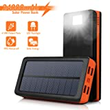 AMAES Solar Charger 24000mAh,Portable Power Bank External Battery Pack Charger with 4 USB Output Ports,Flashlight,IPX5 Rainproof for Camping,Emergency