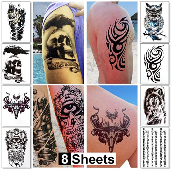 7269abaa32d8a Temporary Tattoos for Men Guys & Teens Fake Tattoo Stickers (8 Large  Sheets) Tattoos for Boys Biker Tattoos Rocker Transfers for Arms Shoulders  ...