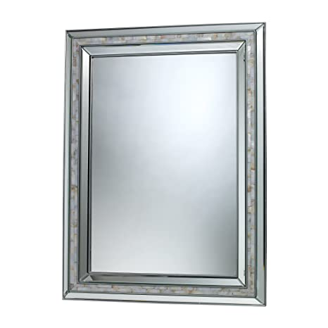 Sterling Industries DM1948 Sardis Mirror in Brushed Steel and Mother of Pearl Shell by Elk Group International