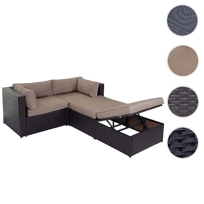 Divano sofa con penisola mobile da esterno Adana polyrattan alluminio marrone con cuscini beige