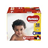 HUGGIES Snug & Dry Diapers, Size 3, for 16-28 lbs., One Month Supply (222 Count) of Baby Diapers, Packaging May Vary
