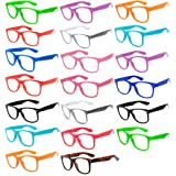 (20 Pieces Per Case) Wholesale Lot Clear Lens Glasses. Assorted Colored Frame Fashion Glasses. Bulk Glasses - Wholesale Bulk Nerdy Party Glasses, Party Supplies.