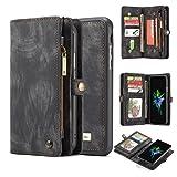 iPhone X Case,AKHVRS Handmade Premium Cowhide Leather Wallet Case,Zipper Wallet Case [Magnetic Closure]Detachable Magnetic Case & Card Slots for iPhone X - Black