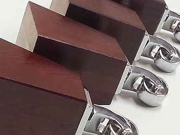 4 x pies de madera de patas para rueda de repuesto muebles cromo 165 mm Altura para sofás, sillas, taburete sofás M8 (8 mm)