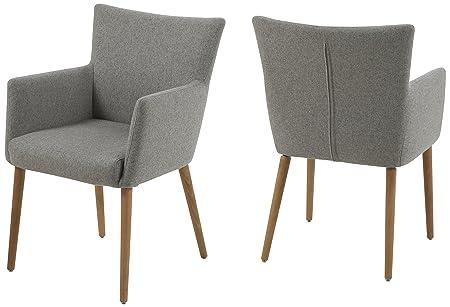 AC Design Furniture 0000055606 Ulrik - Sillón (57 x 61 x 87 cm, asiento y respaldo de tela, estructura de madera de roble, barnizada), color gris claro