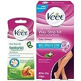 Veet Total Body Wax Strip Kit with Legs & Body Strips (40 cnt) & Botanic Inspirations Sensitive Strips (20 cnt) for Bikini, Underarm & Face (Tamaño: Wax Strip Kit)
