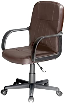 Comfort Products 60-5607M08 Leather Mid-Back Chair, Chocolate Brown