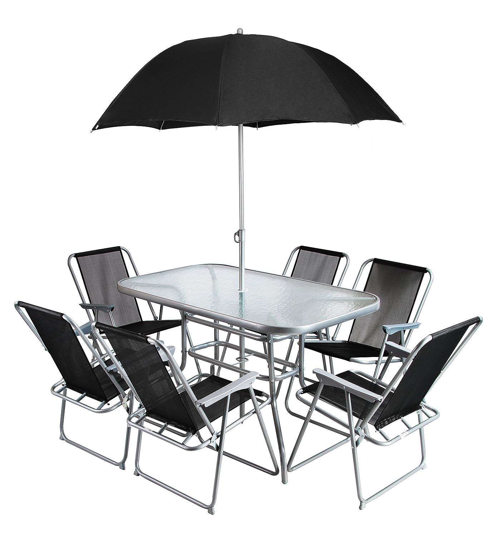 Hectare Mallory Gartentisch mit Sonnenschirm und 6 Textilene Stühlen bestellen
