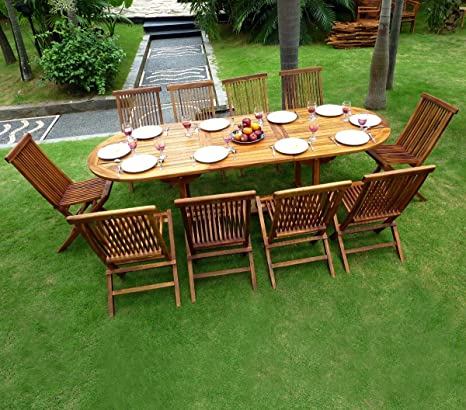 Gartenmöbel, Teak geölt fur 10Personen Tisch 180–240cm