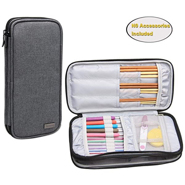 Teamoy Knitting Needles Case(up to 10-Inch), Travel Organizer Storage Bag for Circular and Straight Knitting Needles, Crochet Hooks and Knitting Accessories, Gray-NO Accessories Included (Color: Gray, Tamaño: Medium)