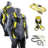 KwikSafety (Charlotte, NC) THUNDER KIT | 3D Full Body Safety Harness, 6' Lanyard, Tool Lanyard, 3' Cross Arm Strap Anchor ANSI OSHA PPE Fall Protection Arrest Restraint Construction Roofing Bucket (Color: Harness + Lanyard + Anchor Strap + Tool Lanyard, Tamaño: KIT (save $10))