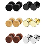 FIBO STEEL 6 Pairs Stud Earrings for Men Women Ear Piercing Ear Plugs Tunnel 18G,6MM