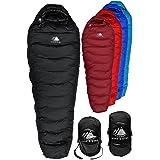 Hyke & Byke Down Sleeping Bag for Backpacking – Snowmass 0 Degree F Ultralight, Ultra Compact Down Filled 4 Season Men's and Women's Lightweight Mummy Bags (Color: Black, Tamaño: Short)