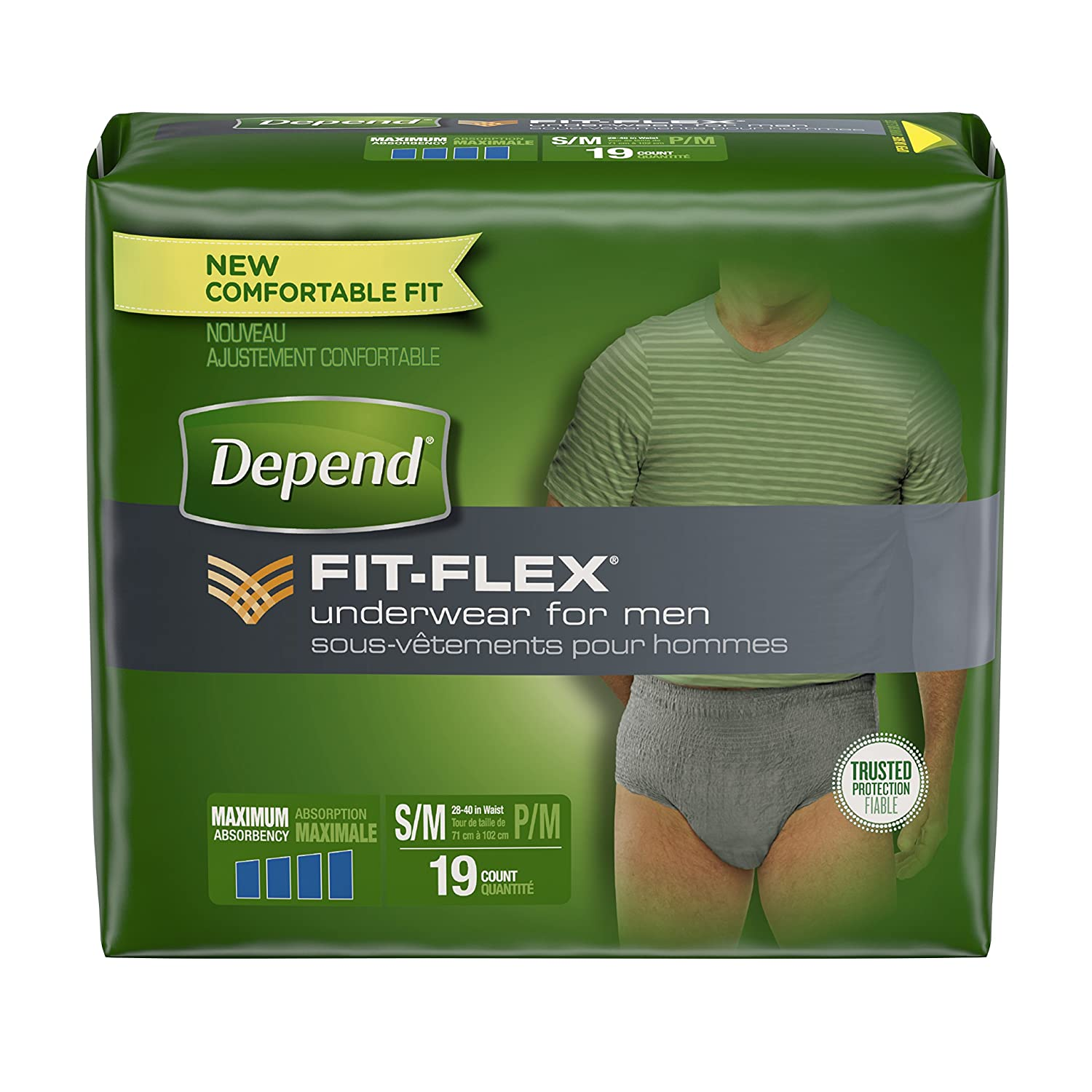 Depend Maximum Absorbency Incontinence Underwear for Men, Small/Medium, 19 Count