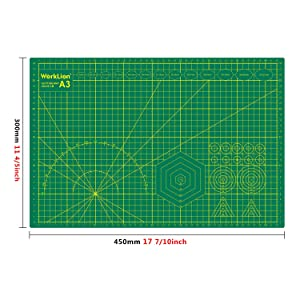 WORKLION 12 x 18 Art Self Healing PVC Cutting Mat, Double Sided, Gridded Rotary Cutting Board for Craft, Fabric, Quilting, Sewing, Scrapbooking Project (Tamaño: A3:12x18 inches)