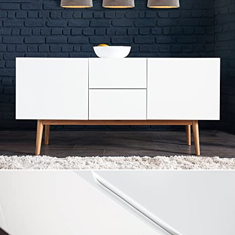 Design Sideboard LISBOA weiß 150cm mit Eiche Fußen Kommode Board Aufbewahrung