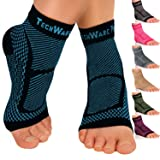 TechWare Pro Ankle Brace Compression Sleeve - Relieves Achilles Tendonitis, Joint Pain. Plantar Fasciitis Foot Sock with Arch Support Reduces Swelling & Heel Spur Pain. Injury Recovery for Sports (Color: Black / Blue, Tamaño: XXL (Women 11.0 + / Men 10.0 -13.0))